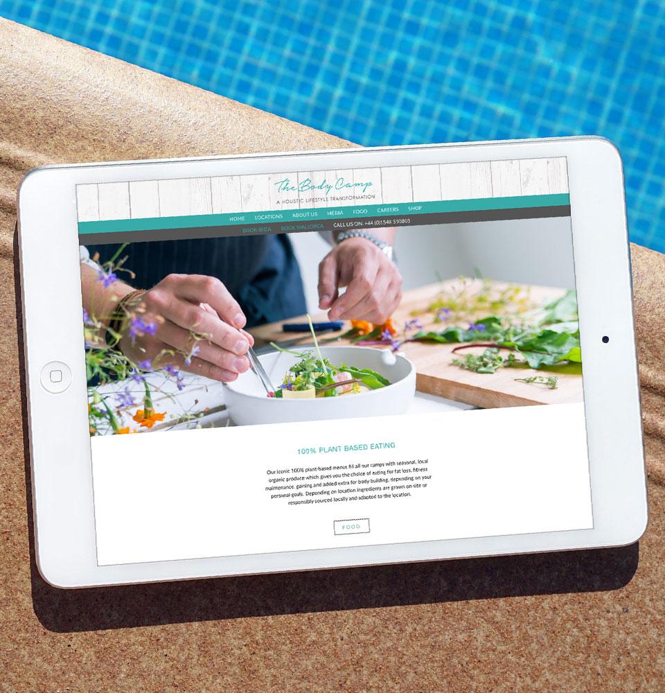 The Body Camp website design